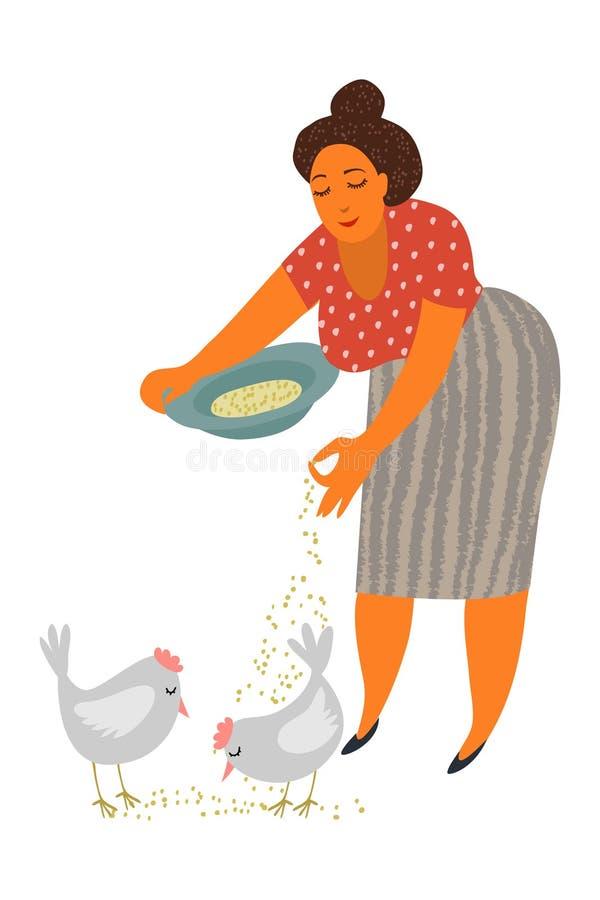 Matande hönor för kvinna, kvinnlig bonde som tar omsorg av djuret på lantgården, illustration för vektor för hönsavel vektor illustrationer