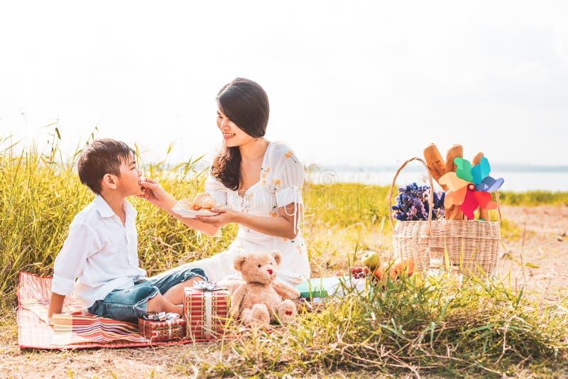 Matande mellanmål för härlig asiatisk mamma till hennes son i äng, när göra picknicken leka son f?r moder tillsammans Fira i mode arkivbilder