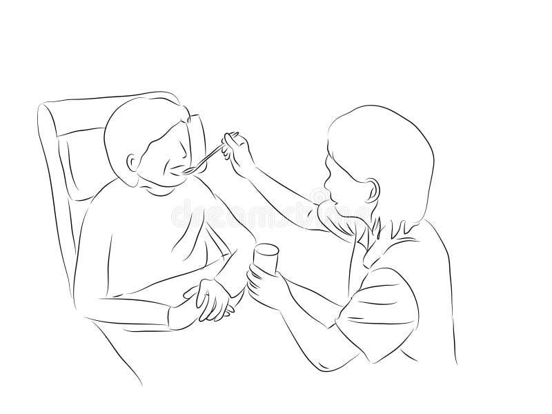 Matande patient för sjuksköterska royaltyfri illustrationer