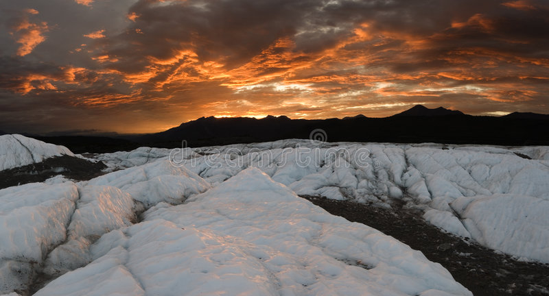 Download Matanuska Glacier Sunset, Pano Stock Image - Image: 3043241