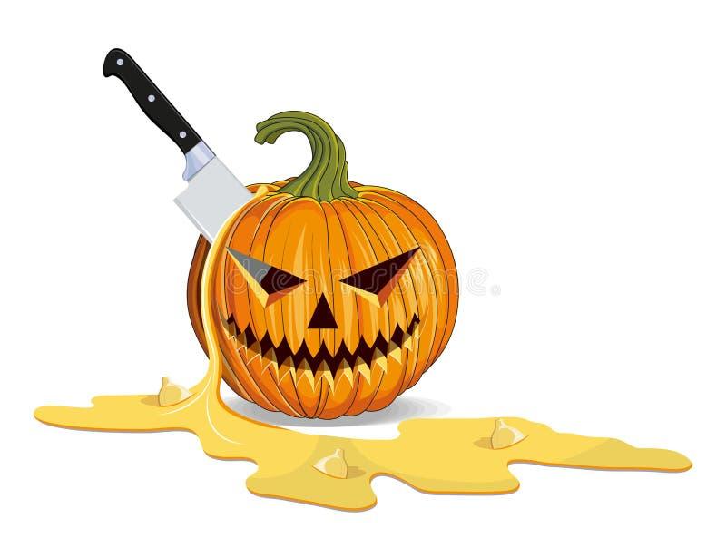 Matanza de Halloween y tallado de calabaza. Feliz feriado de Halloween. Calabaza naranja con sonrisa. Atributo de Jack Lantern de  stock de ilustración