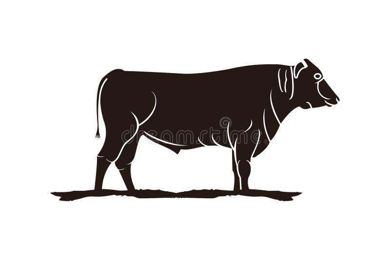 matanza, ganado, logotipo de la carne de vaca ilustración del vector