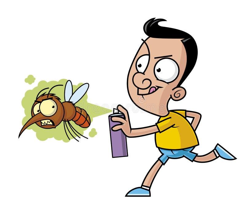 Matar al mosquito grande con el espray del insecticida libre illustration