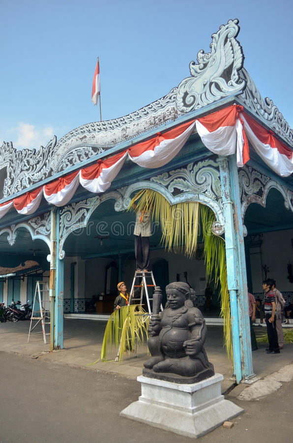 MATARAM CULTURE. Royal courts of Mataram-Surakarta at Solo, Java, Indonesia. The culture of the sixteenth century Mataram Sultanate of Java pretty much dominate stock photo