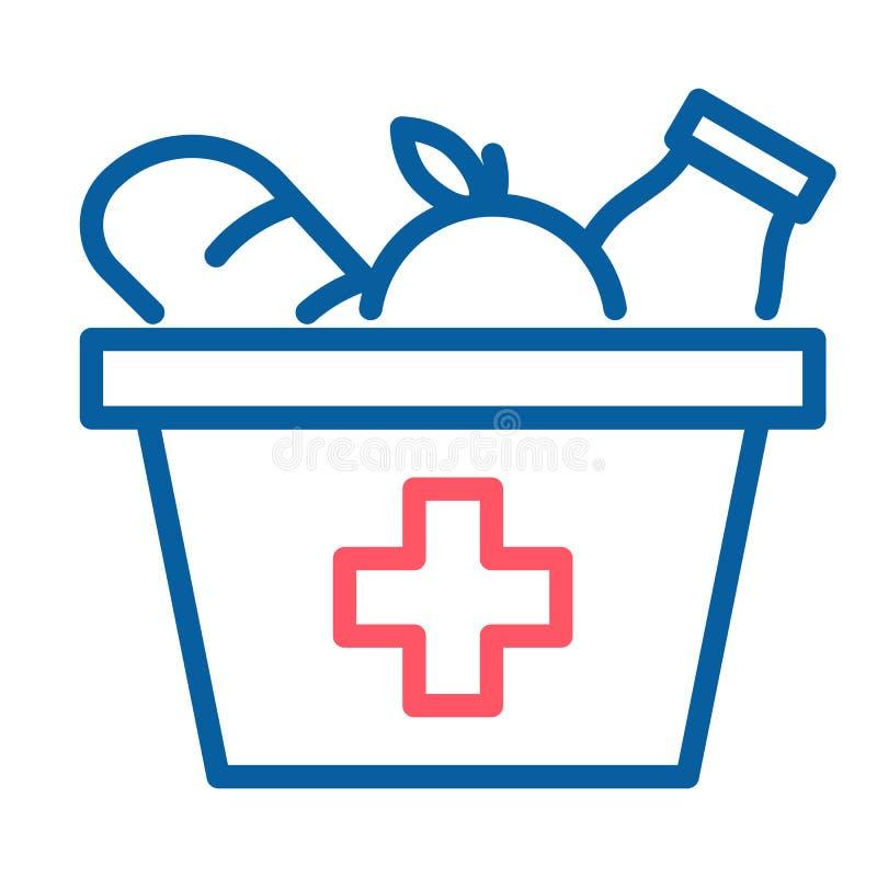 Matask med en Röda korsetsymbol Tunn linje illustration för vektor Livsmedelsbutiken provianterar donation royaltyfri illustrationer