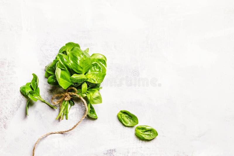 Matbakgrund med grön basilika, lekmanna- lägenhet, bästa sikt arkivfoton