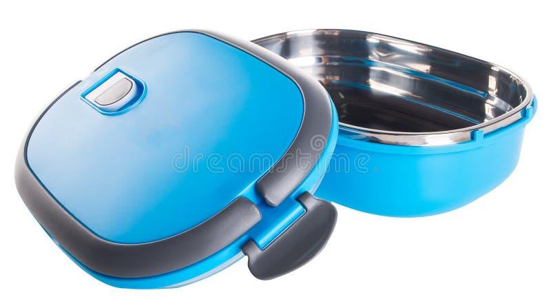 Matbehållare Tiffin, matbehållare på bakgrund. arkivfoto