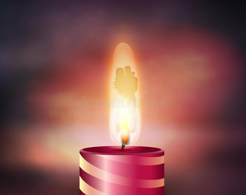Burning love candle, couple silhouettes hugging vector illustration