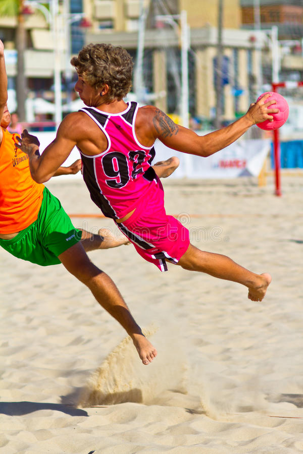 Match of the 19th league of beach handball, Cadiz royalty free stock photography
