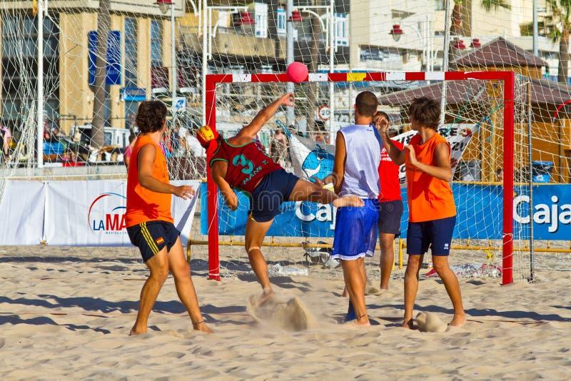 Match of the 19th league of beach handball, Cadiz stock images