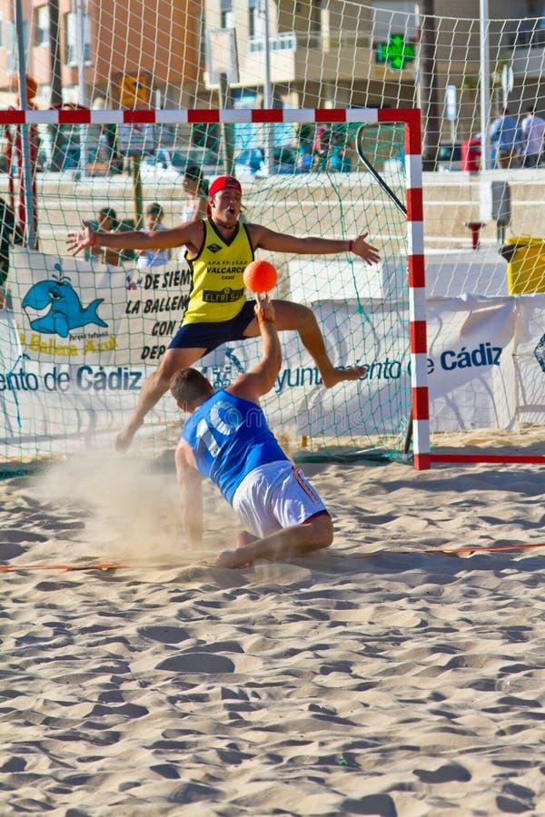 Match of the 19th league of beach handball, Cadiz royalty free stock photo