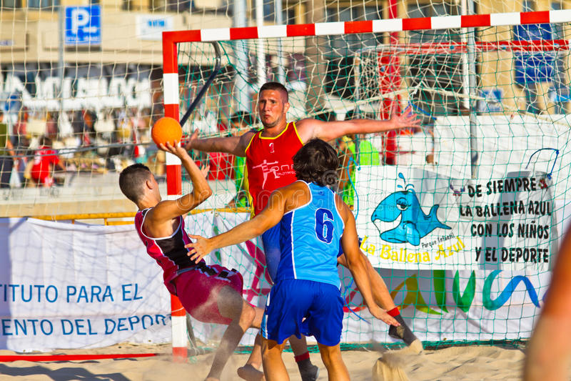 Match of the 19th league of beach handball, Cadiz royalty free stock images