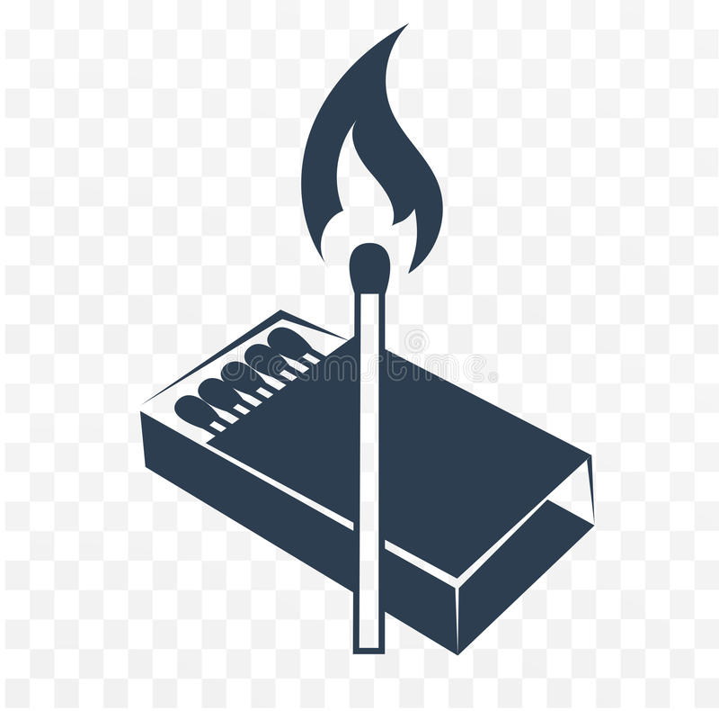 Match allumé par icône noire illustration de vecteur