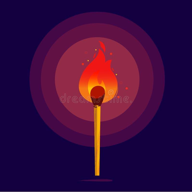 Match avec le feu rougeoyant dans l'obscurité Matchs brûlants - Motiv illustration stock