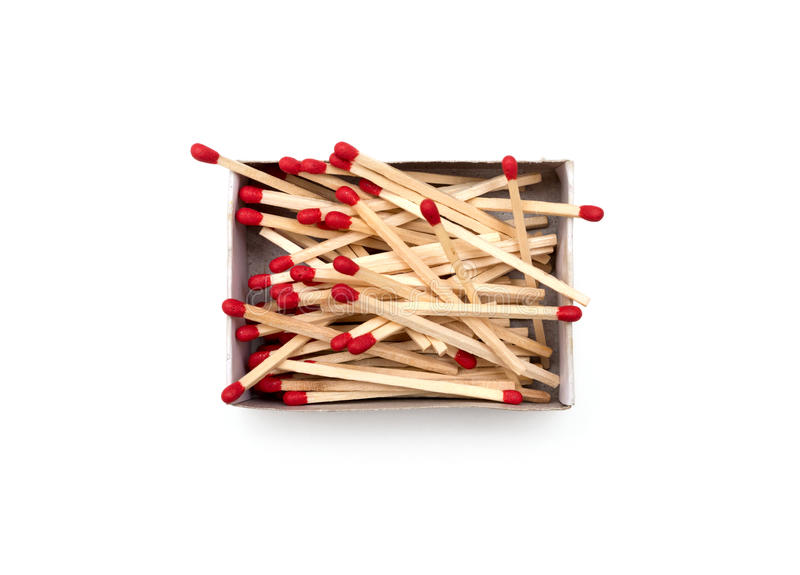 Match in a box isolated. Match in a box on a white background royalty free stock photography
