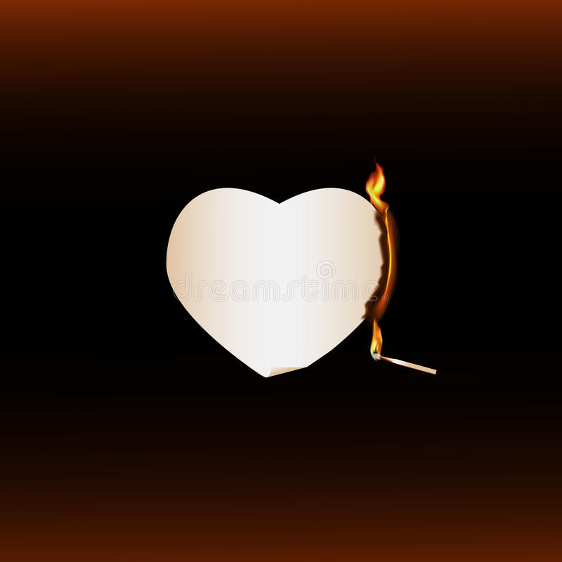 Match brûlant d'extrémité brûlante de coeur illustration stock