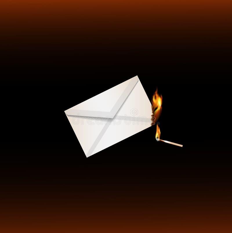 Match brûlant d'extrémité brûlante de lettre illustration libre de droits