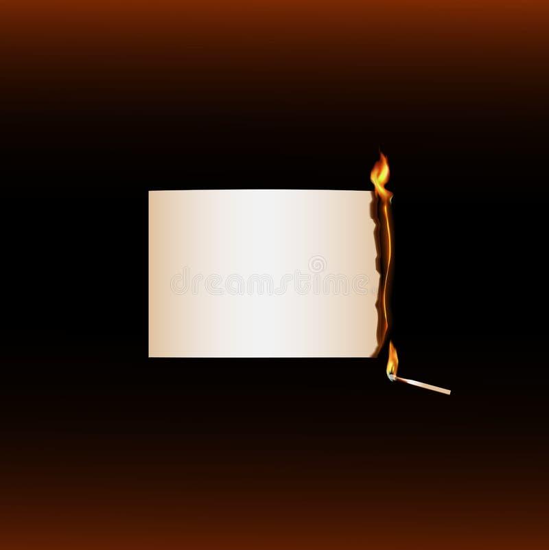 Match brûlant d'extrémité de papier brûlante illustration de vecteur