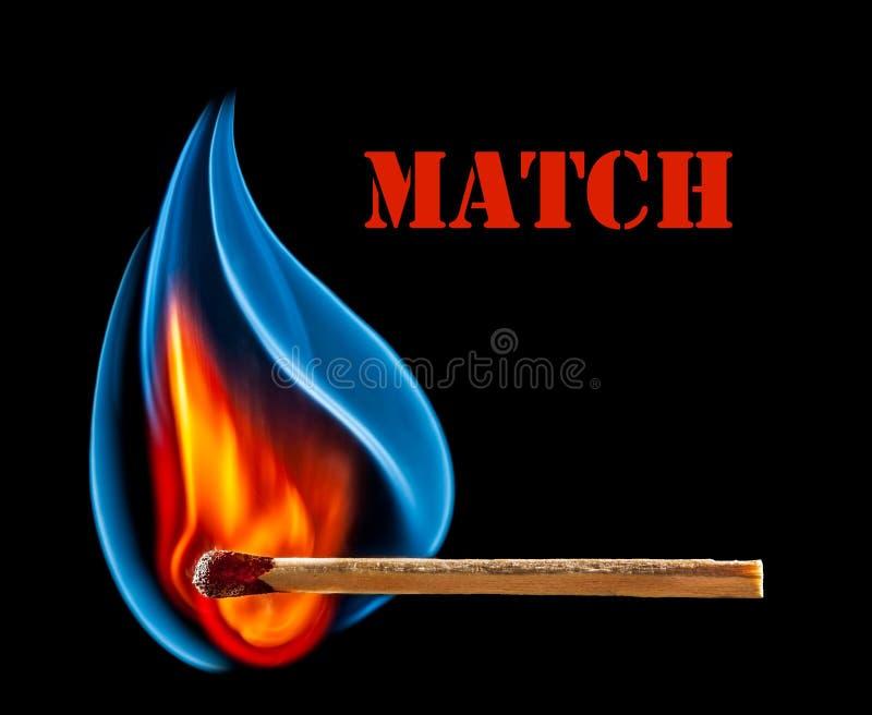 Match Is Burning On Black Background Royalty Free Stock Photo