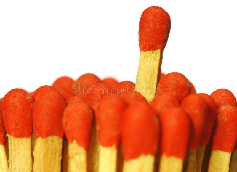 Match. Close up red match on white stock photo