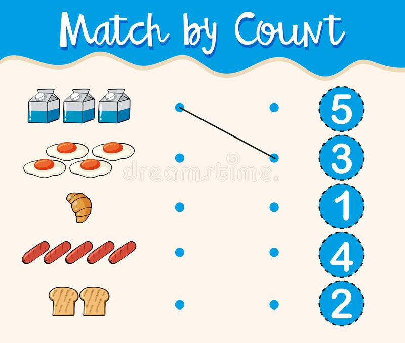 Match by count with different types of food royalty free illustration