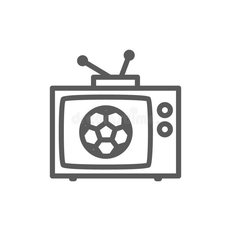 Match d'émission à TV, ligne icône du football illustration libre de droits