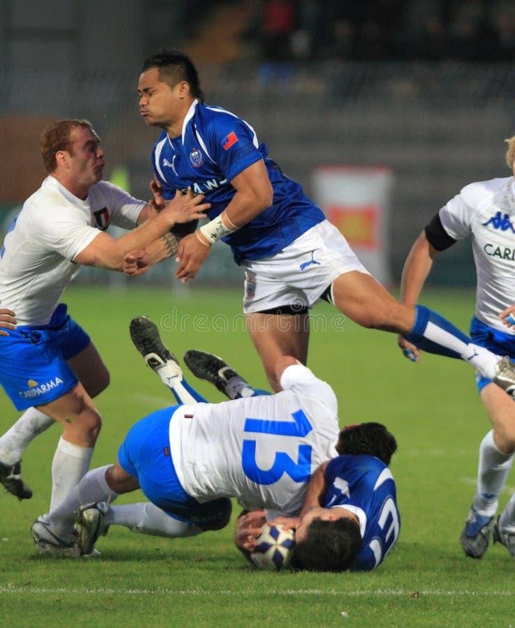 Match d'essai Italie de rugby contre le Samoa ; Canale photo libre de droits