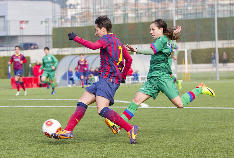 Match de football de femmes - FC Barcelona contre Levante photos stock