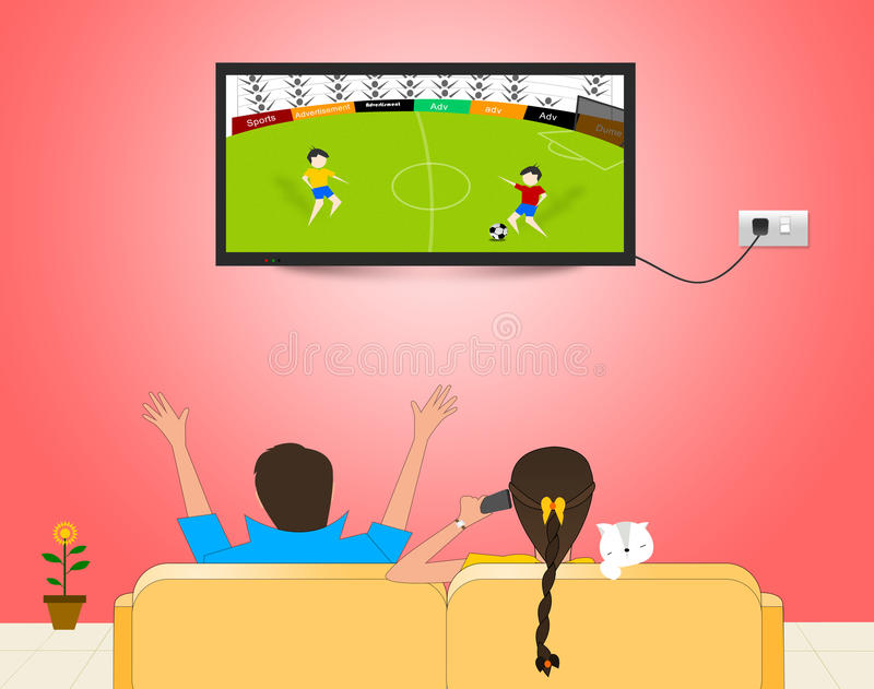 Match de football de observation à la TV illustration de vecteur