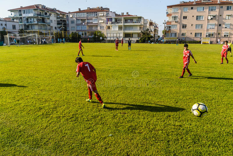 Match de Ligue de Football de lycée photo libre de droits