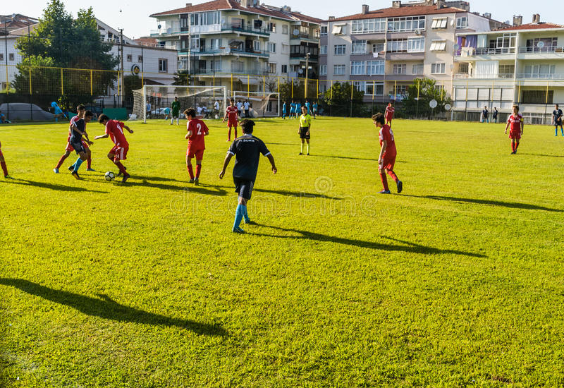 Match de Ligue de Football de lycée photos stock