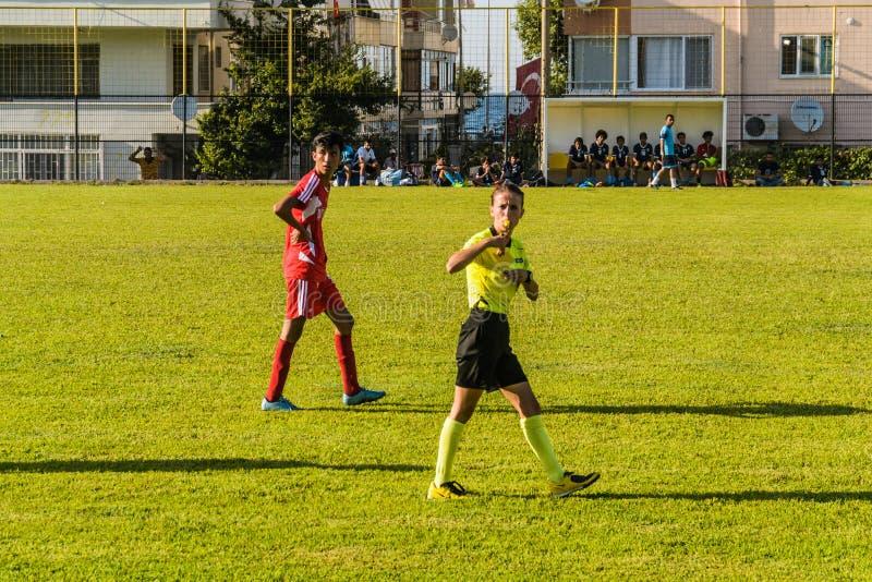 Match de Ligue de Football de lycée photo stock