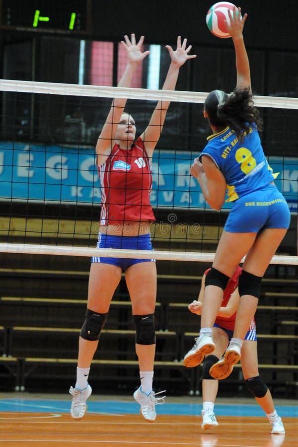 Match de volley de Kaposvar - de Szolnok images libres de droits
