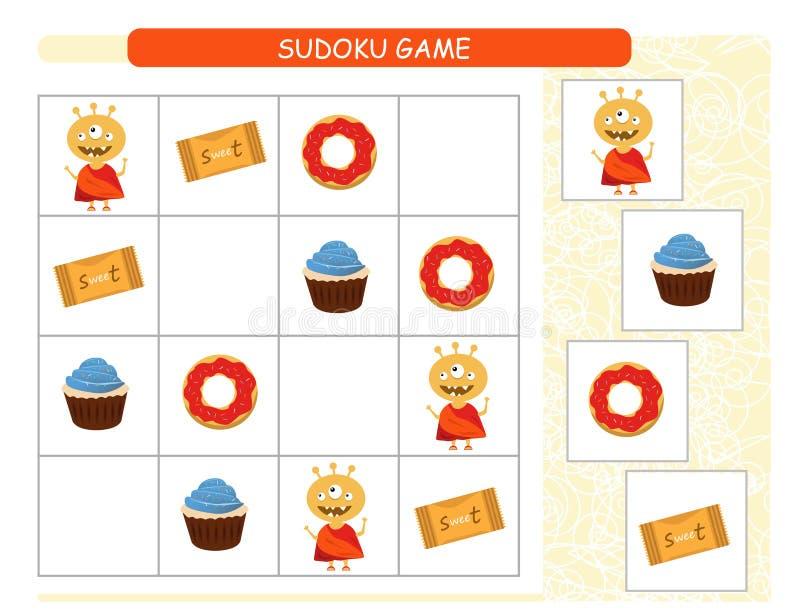 Match die Bilder Finden Sie die korrekte Farbe Lustige Monster Tätigkeitslernspiel für Kinder vektor abbildung