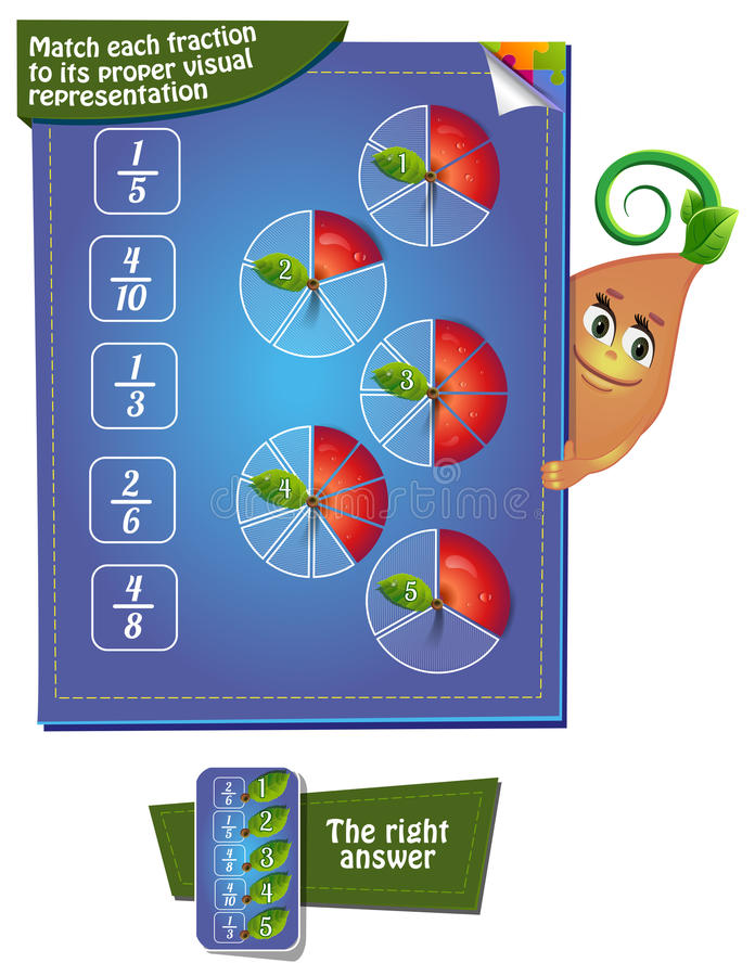 Match each fraction to its proper visual representation stock illustration