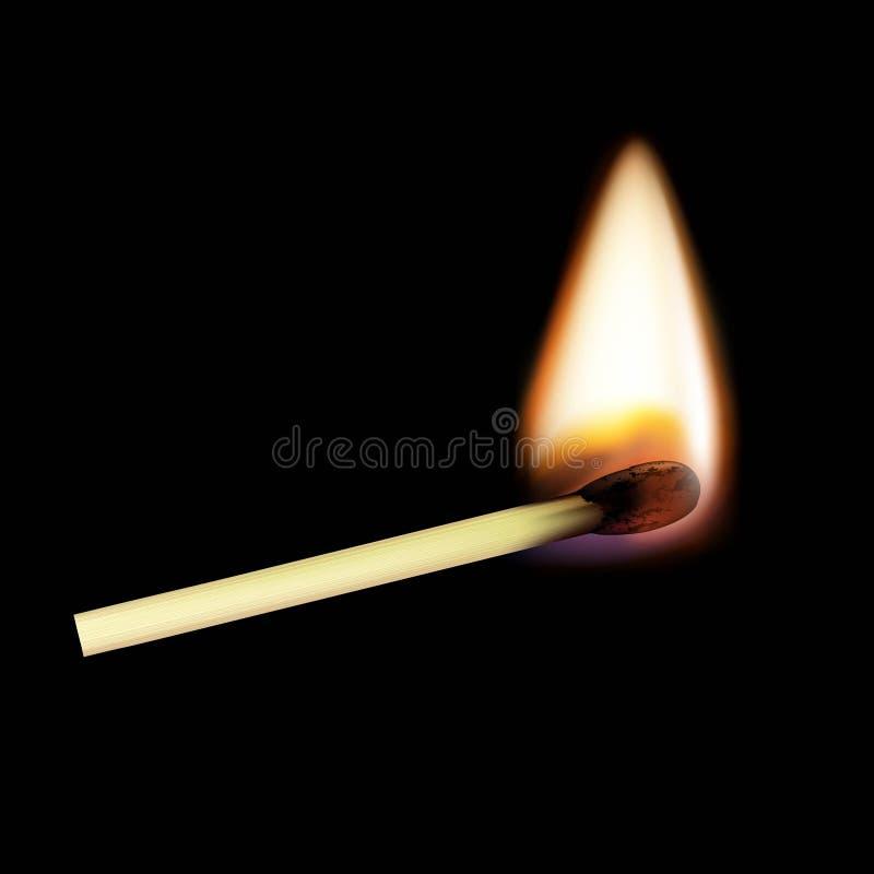 Match en bois sur le feu D'isolement sur un fond noir Vect courant illustration de vecteur