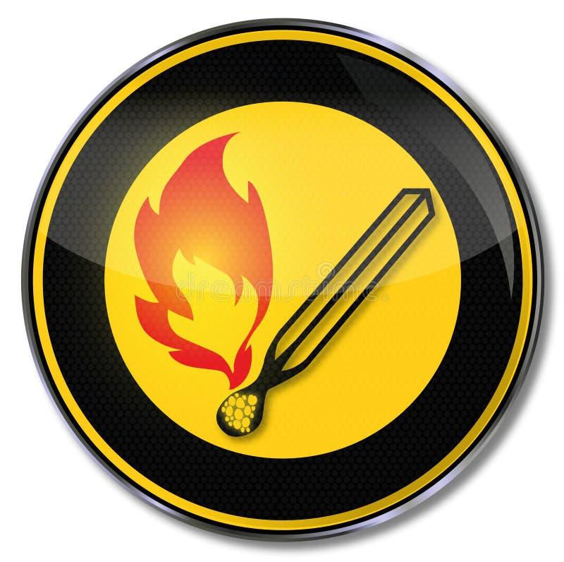Match et flamme nue illustration stock
