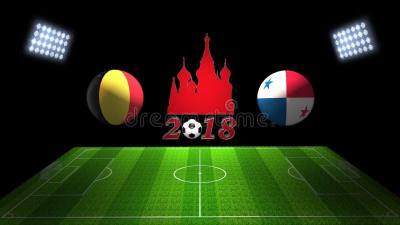 Match 2018 för världsfotbollkopp i Ryssland: Belgien vs Panama; , in royaltyfri illustrationer