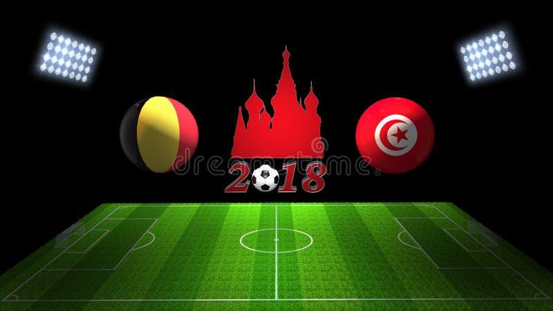 Match 2018 för världsfotbollkopp i Ryssland: Belgien vs Tunisien in royaltyfri illustrationer