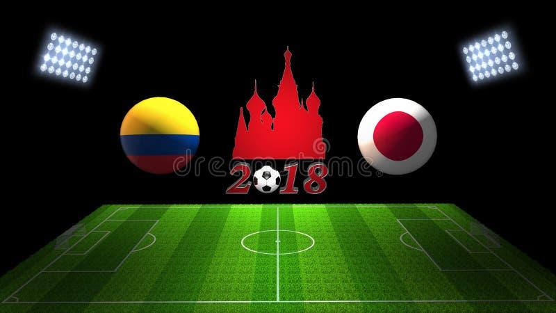 Match 2018 för världsfotbollkopp i Ryssland: Colombia vs Japan i 3 royaltyfri illustrationer