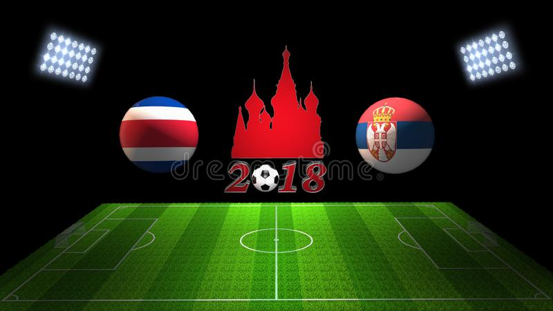 Match 2018 för världsfotbollkopp i Ryssland: Costa Rica vs Serbien I vektor illustrationer