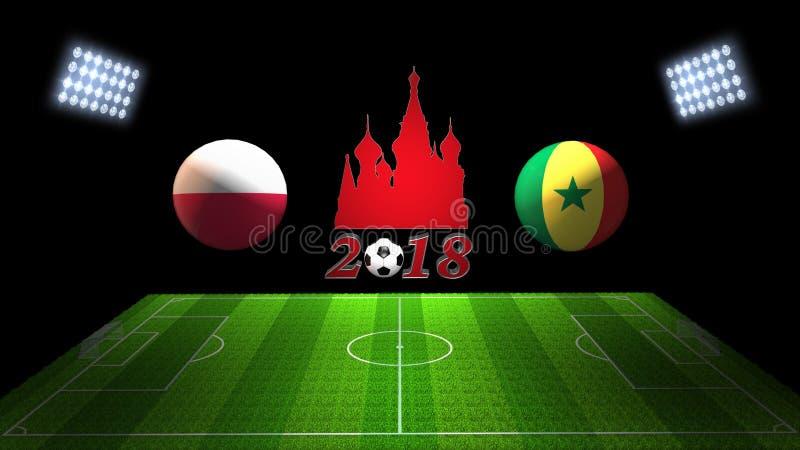 Match 2018 för världsfotbollkopp i Ryssland: Polen vs Senegal i 3 stock illustrationer