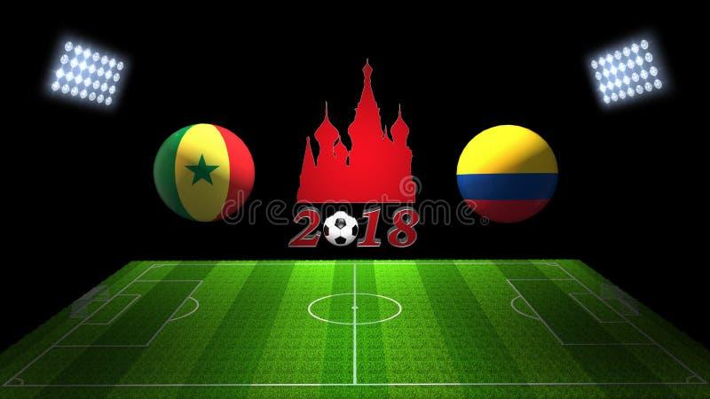 Match 2018 för världsfotbollkopp i Ryssland: Senegal vs Colombia in royaltyfri illustrationer