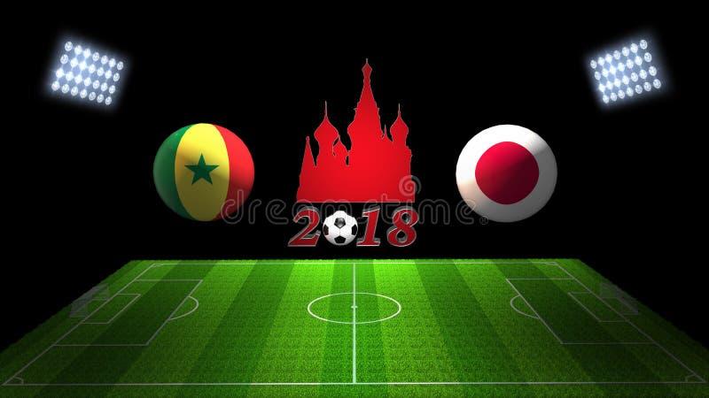 Match 2018 för världsfotbollkopp i Ryssland: Senegal vs Japan i 3D royaltyfri illustrationer