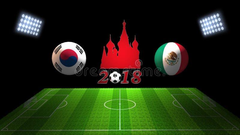 Match 2018 för världsfotbollkopp i Ryssland: Sydkorea vs Mexico, stock illustrationer