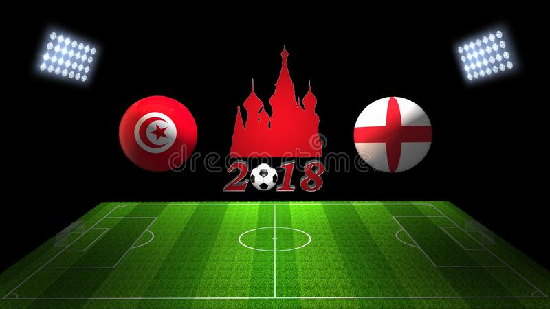 Match 2018 för världsfotbollkopp i Ryssland: Tunisien vs England in vektor illustrationer