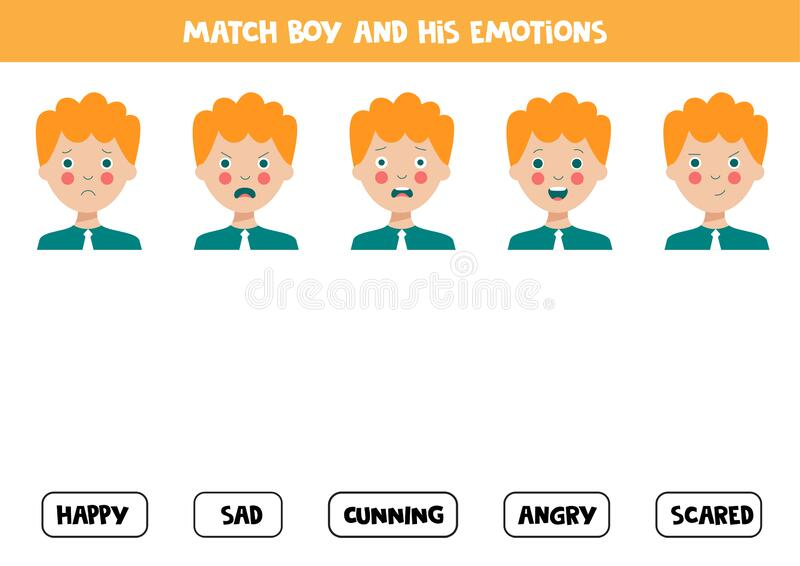 Match Face Expressions Of Boy With Emotions Logical Worksheet Stock Vector Illustration Of Funny Learn 182327564 - Download Matching Feelings Worksheet For Kindergarten Background