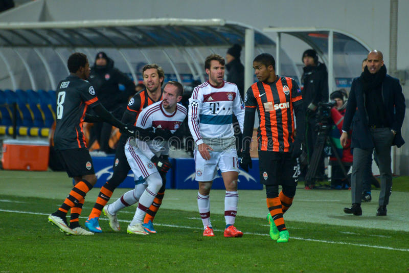 Match between FC Shakhtar vs FC Bayern. Champions League. Match between FC Shakhtar Donetsk vs FC Bayern München. UEFA Champions League. Round of 16, First stock images