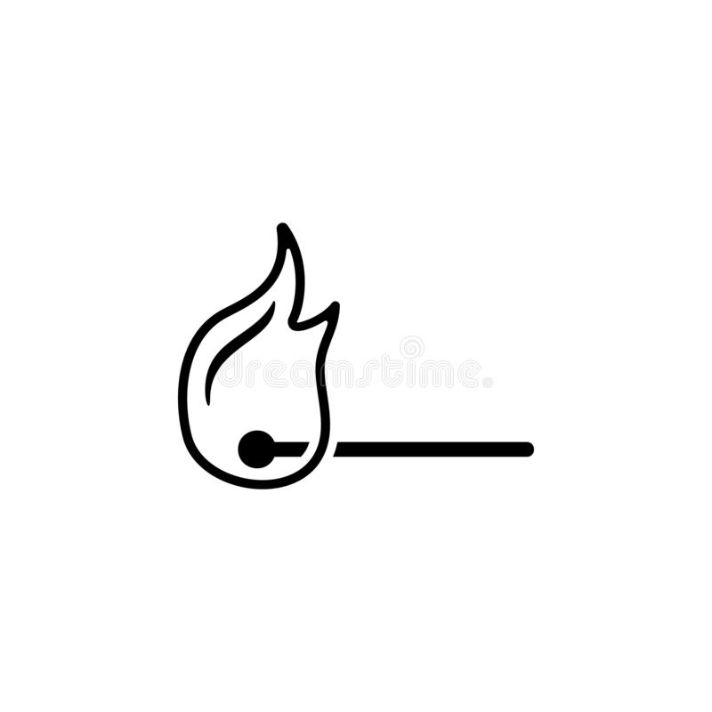 Match, fire icon. Simple glyph vector of universal set icons for UI and UX, website or mobile application. On white background stock illustration