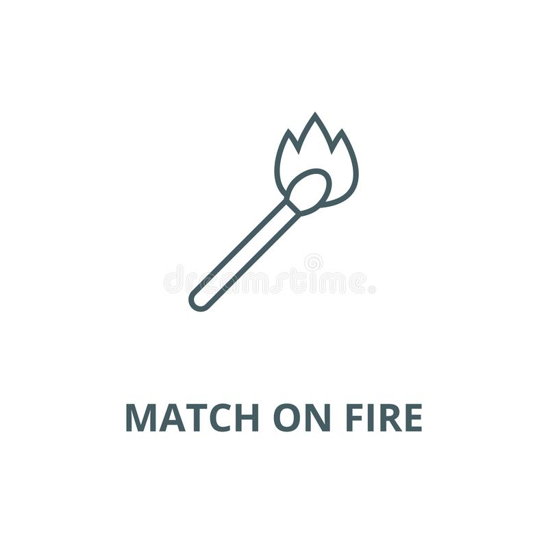 Match on fire vector line icon, linear concept, outline sign, symbol stock illustration